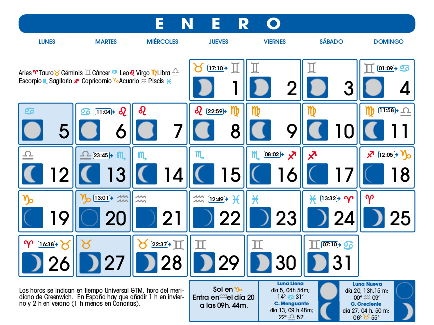 Calendario 2016 Cuarto Menguante