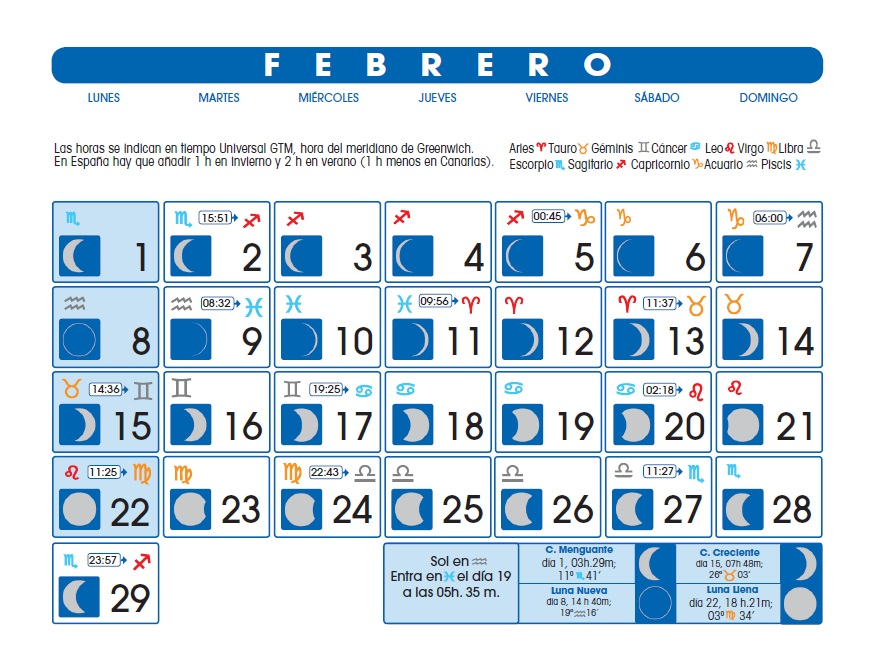Calendario lunar febrero de 2016 for Calendario de luna creciente 2016