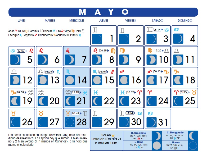 Calendario lunar mayo de 2014 for Calendario de luna creciente 2016