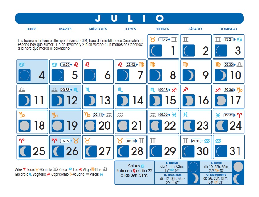 Calendario lunar julio de 2016 for Calendario de luna creciente 2016
