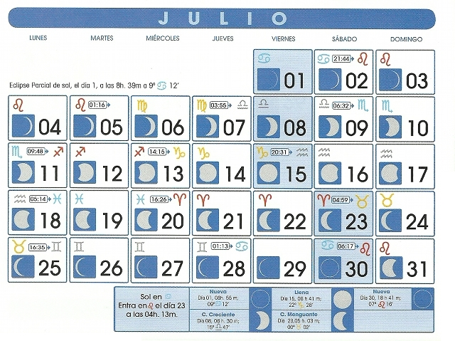 Calendario lunar julio de 2011 for Cambio lunar julio 2016