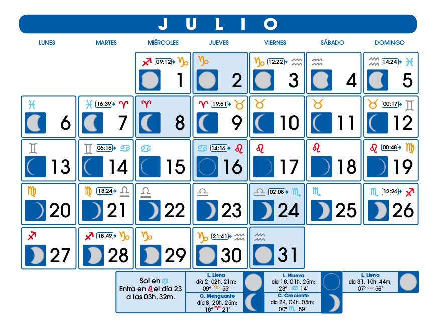 Calendario lunar julio de 2015 for Calendario de luna creciente 2016