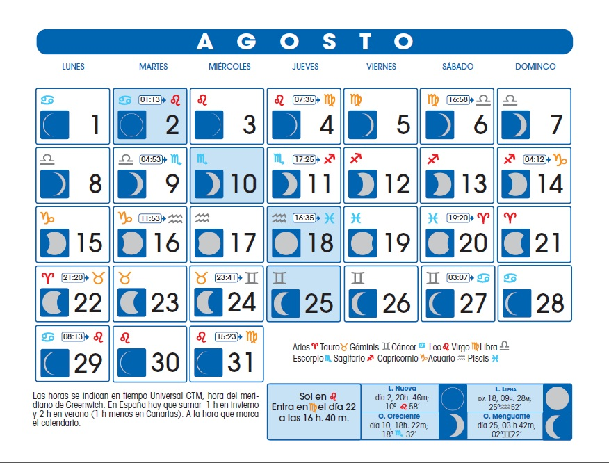 Armon A Blue Calendario Lunar Agosto