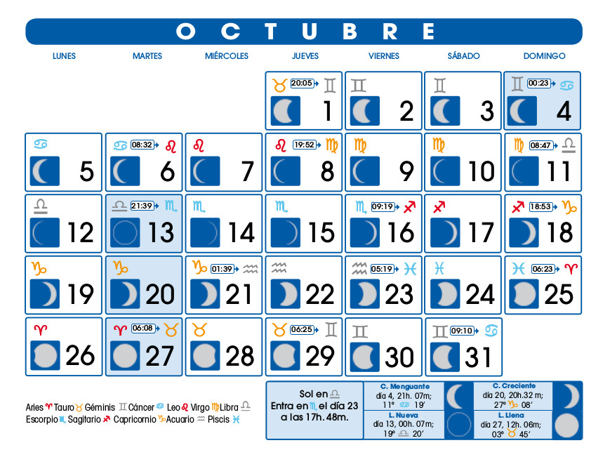 Calendario lunar octubre de 2015 for Calendario de luna creciente 2016