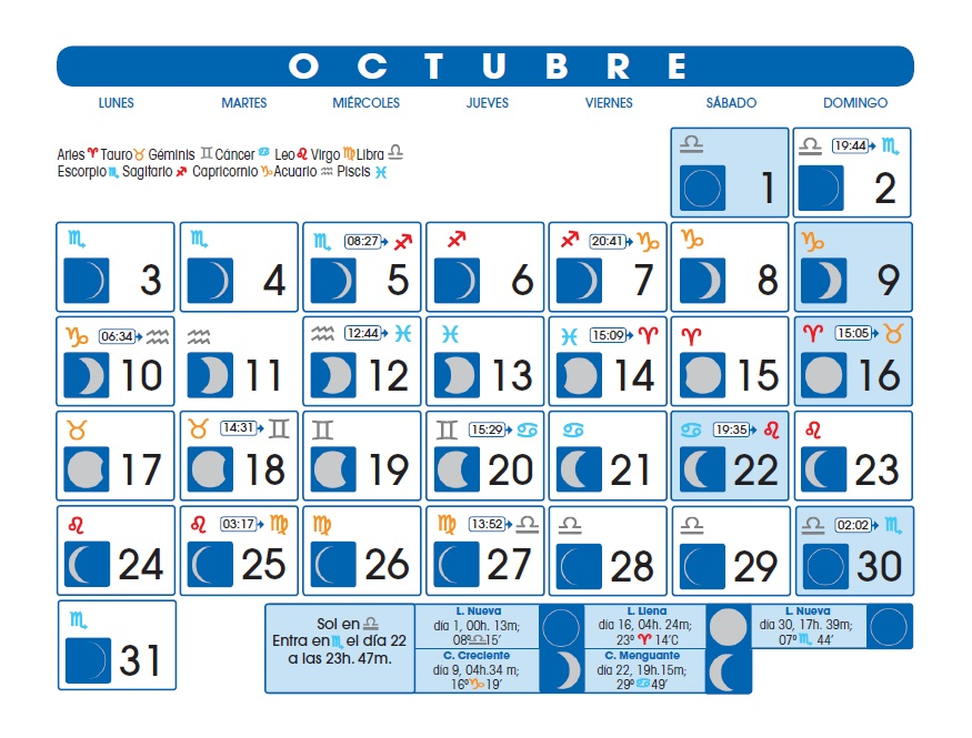 Calendario lunar octubre de 2016 for Calendario de luna creciente 2016