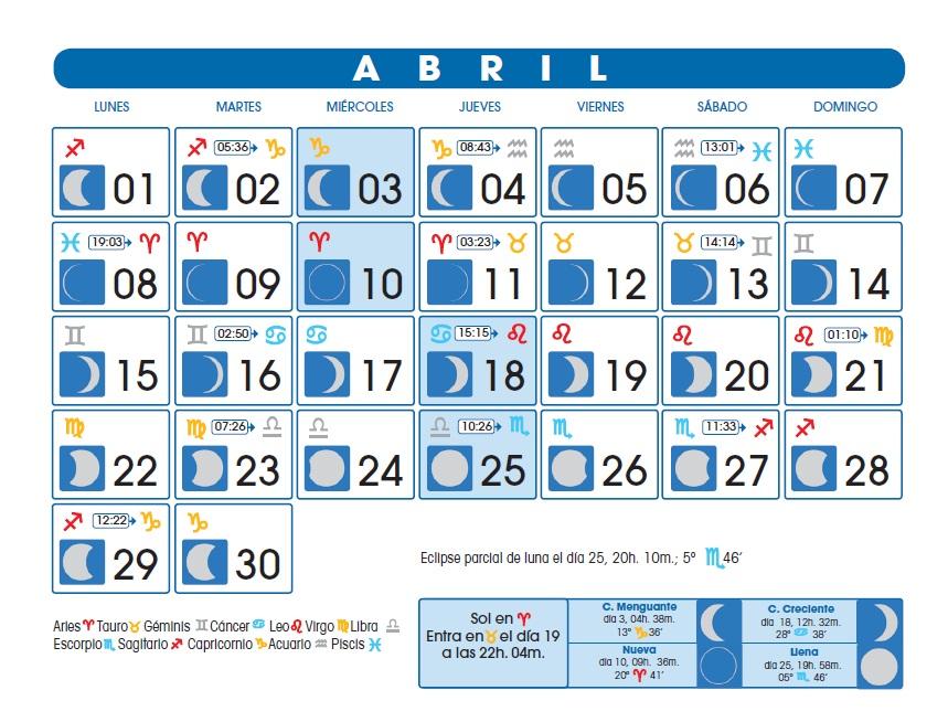 Calendario Lunar Abril De 2013
